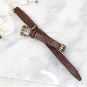 Fossil Vintage Brown Leather Belt Gold Hardware